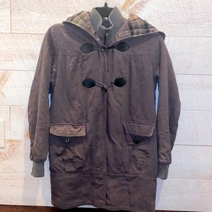 FOREVER 21 Women's Olive Green Layered Toggle Coat Size M